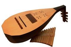 Kobza y cacerola-fluit imagen de archivo