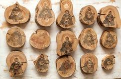 kobzar afgeschilderd op houten stompen Royalty-vrije Stock Foto's