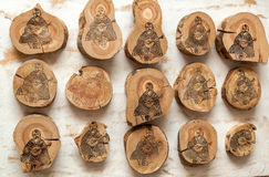Kobzar depicted on wooden stumps Royalty Free Stock Photos