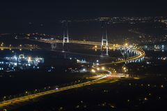 Osman Gazi Bridge in Kocaeli, Turkey. Stock, architecture. Kocaeli, Turkey - 04 August 2018: Newly constructed Osman Gazi Bridge which is crossing the sea of stock photos