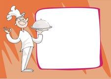 Koch bietet Abendessen an Stockbild