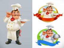 Koch, Chef Charakter und Aufkleber Drei Farbikonen auf Pappumbauten stock abbildung