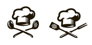 Koch, Cheflogo oder Ikone Aufkleber für das Menü des Restaurants oder des Cafés Satz der Farbflamme stock abbildung