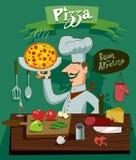 Koch in der Küche, die eine Pizza zubereitet Ein Satz Bestandteile für Stockfotografie