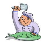 Koch hackt Fische Stockbild