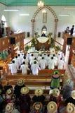 Koch Islanders beten am Koch Islands Christian Church Avarua Raro Lizenzfreie Stockbilder