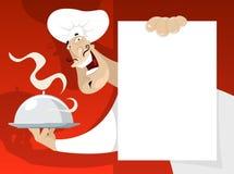 Koch mit dem Menü lizenzfreie abbildung