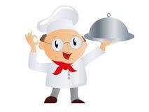 Koch mit einem Behälter Stockfoto