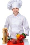Koch mit Nahrung Stockbild