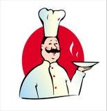 Koch mit Platte Lizenzfreies Stockfoto