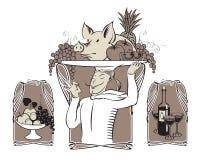 Koch mit Schwein Stockfotos