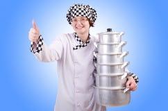 Koch mit Stapel Töpfen Stockfoto