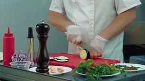 Koch schneidet Aubergine für Salat stock footage
