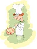 Koch und Pizza - Illustration Lizenzfreies Stockfoto