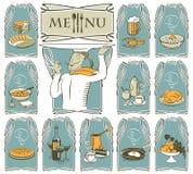 Koch und verschiedene Teller Stock Abbildung