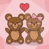 Kochać niedźwiedź pary dziecka serca zwierzęcą dekorację royalty ilustracja