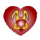 Kocha żółtego psa na tle piękny serce Zdjęcia Stock
