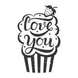 Kocha ciebie babeczka z truskawką Obrazy Stock