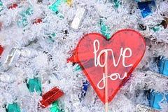 Kocha ciebie kierowy lizak na zima cukierków tle Zdjęcie Royalty Free