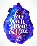 Kocha ciebie księżyc i popiera Obrazy Stock