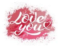 Kocha ciebie literowanie, kaligraficzna wektorowa inskrypcja zdjęcia royalty free
