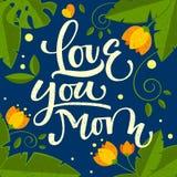 Kocha ciebie mama r?ka rysuj?cy kaligraficzny kolorowy projekt royalty ilustracja