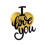 Kocha Ciebie, ręka pisać literowanie Romantyczna kaligrafia Fotografia Stock