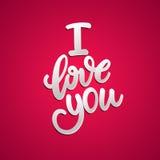 Kocha Ciebie, ręka pisać literowanie Romantyczna kaligrafia Zdjęcie Royalty Free