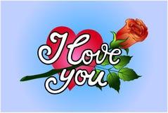 'kocha ciebie' ręki literowanie Zdjęcie Royalty Free