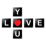 Kocha ciebie scrabble płytkami crossword Obraz Royalty Free
