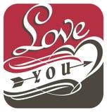 Kocha ciebie, unikalny typografia projekt Zdjęcia Royalty Free