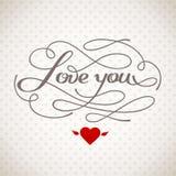 Kocha Ciebie wektor karta Zdjęcia Royalty Free