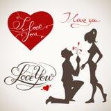 Kocha Ciebie wektoru set Obrazy Stock