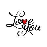 Kocha ciebie - wręcza literowanie, handmade kaligrafia Obraz Stock