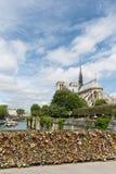 Kocha kłódki przy mostem nad rzecznym wontonem w Paryż, Francja Fotografia Royalty Free