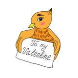 Kocha kartę z ptakiem na białym tle Fotografia Royalty Free