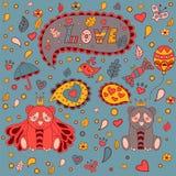 Kocha kwiecistą ramę, wektorowy doodle 2007 pozdrowienia karty szczęśliwych nowego roku Obrazy Royalty Free
