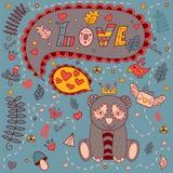 Kocha kwiecistą ramę, wektorowy doodle 2007 pozdrowienia karty szczęśliwych nowego roku Obraz Stock