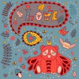 Kocha kwiecistą ramę, wektorowy doodle 2007 pozdrowienia karty szczęśliwych nowego roku Zdjęcie Stock