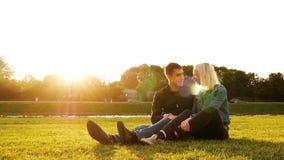 Kocha pary obsiadanie na trawie w lato parku zbiory