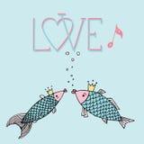 Kocha ryba z z kaligraficzną inskrypcją, śpiewa ryba, buziak ryba, miłości ręki rysunek Obraz Royalty Free