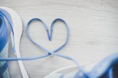 Kocha szyldowej, Selekcyjnej ostrości zakończenie w górę błękitnych sportów butów, Zdjęcia Stock