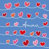 Kocha wiadomość z sercami oplecionymi na błękitnym tle ilustracja wektor