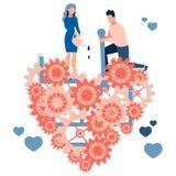 Kochająca para poprzedni naprawianie złamane serce Praca dla związków rodzinnych W minimalisty stylu Kreskówki mieszkanie ilustracja wektor
