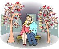 Kochająca para ludzie na parkowej ławce Zdjęcia Stock