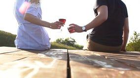Kochająca para pije wino przy zmierzchem także daktylowa galeria mój romantyczny widzii jednakową pracę zdjęcie wideo