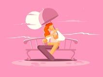 Kochająca para pod parasolem na ławce royalty ilustracja