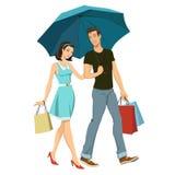 kochający para parasol ilustracji