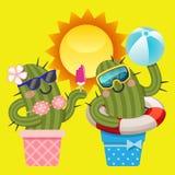 Kochająca para kaktus z lato tematem Obrazy Stock