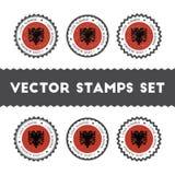 Kocham Albania wektorowych znaczki ustawiających Zdjęcia Royalty Free